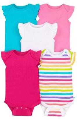 Little Star Organic Baby Girl Sleeveless Pure Organic True Brights Bodysuits, 4-pack