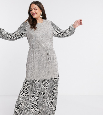 ASOS DESIGN Curve plisse maxi dress with blouson sleeve in mixed animal and spot print