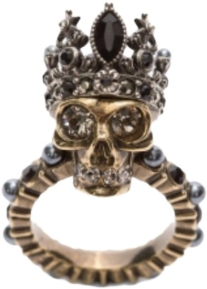 Alexander McQueen Black Metal Rings