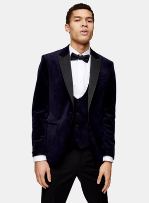 Topman Navy Velvet Single Breasted Skinny Fit Suit Blazer With Peak Lapels