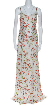 Dolce & Gabbana Dolce and Gabanna White Cherry Print Ruched Detail Sleeveless Dress M