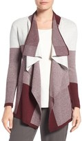 Chaus Colorblock Jacquard Drape Front Cardigan