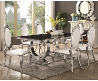A Line Furniture Luxurious Modern Design Stainless Steel Dining Set with Black Glass Table Top
