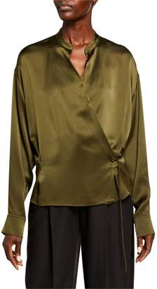 Vince Long-Sleeve Silk Wrap Blouse