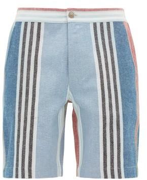 P. Le Moult - Striped Cotton Canvas Pyjama Shorts - Mens - Multi