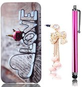 Sunroyal Shockprood Ultra Thin Anti Scratch Hard Plastic Shell PC Protective Cover Glossy Snap-on Slim Fit Case for iPhone 5 5S SE 5SE + Bling Crystal Diamond Anti-dust Plug + Touch Pen - Love