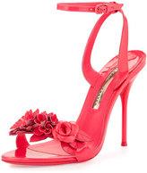 Sophia Webster Lilico Floral Patent Sandal, Fluorescent Pink