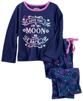 "Osh Kosh Girls 4-14 Love You Moon & Back"" Glow-In-The-Dark Top & Fleece Bottoms Pajama Set"