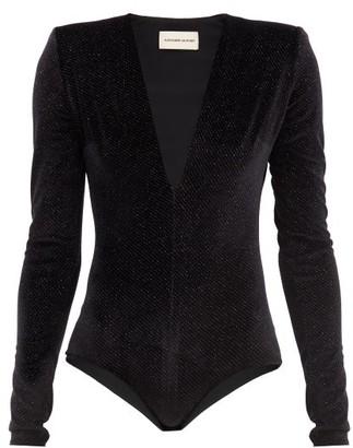 Alexandre Vauthier Plunge-neck Glitter-velvet Bodysuit - Black