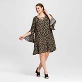 Xhilaration Women's Plus Size Floral Cross Front Dress Black