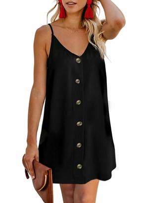Aleumdr Womens Summer Button Down V Neck Sleeveless Slip Printed Casual Sun Dress Mini Skirt Swimsuit Black Large