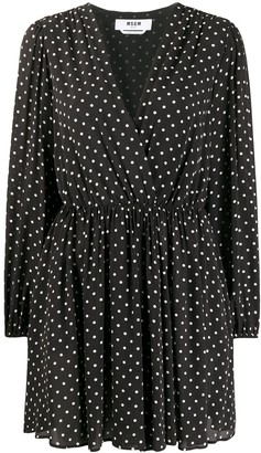 MSGM Long-Sleeved Polka Dot Dress