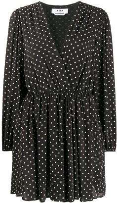 MSGM long-sleeved polka dot dress