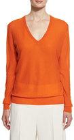 Joseph Blouson Cashmere V-Neck Sweater, Tangerine