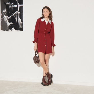 Sandro Dress with press studs and smocked belt