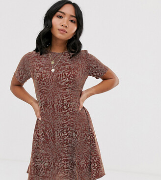 New Look Petite fitted day dress in brown spot-Black