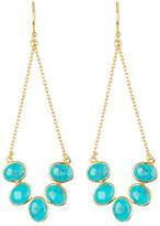 Argentovivo 18K Gold Plated Sterling Silver Open Teardrop Turquoise Earrings