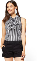 New York & Co. 7th Avenue - Sleeveless Tie-Front Shirt - Stripe