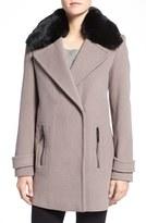 Calvin Klein Faux Fur Trim Basket Weave Wool Blend Coat