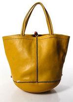 Henry Cuir Yellow Leather Beaded Small Bucket Handbag