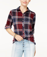 Polly and Esther Juniors' Lace-Up-Back Plaid Shirt