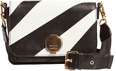 Karen Millen The Essentials Leather Disc Shoulder Bag, Black/White