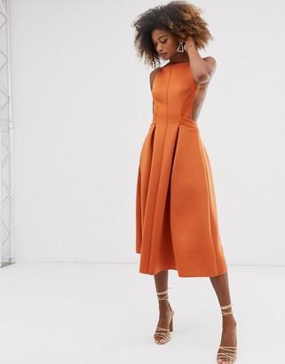 Asos Design DESIGN high neck midi pleated prom dress-Orange