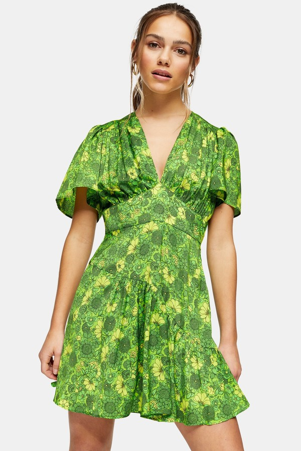 Topshop Womens Petite Willow Green Floral Print Angel Sleeve Mini Dress - Green