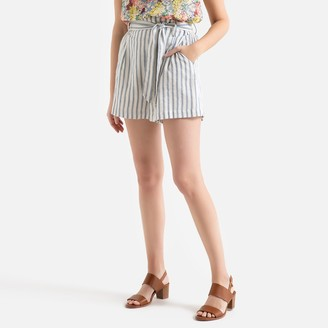 Suncoo Bob Striped Cotton Shorts with High Waist and Tie Belt