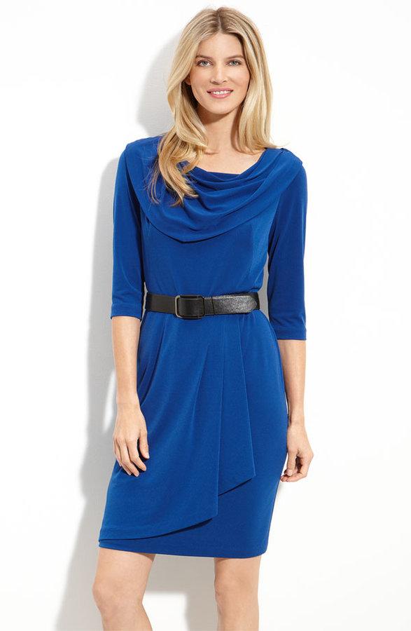 Donna Ricco Drape Neck Jersey Dress