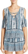 Aqua Cold Shoulder Lace-Up Boho Top - 100% Exclusive