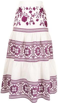 Alexis Deena linen midi skirt