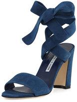 Manolo Blahnik Tondala Suede Ankle-Wrap Sandal, Blue