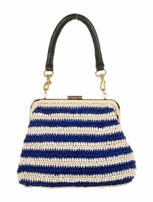 Clare Vivier Striped Raffia Handle Bag Blue