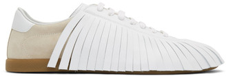 Lanvin Beige and White Fringe Sneakers