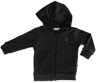 North Kinder Knit Baby Hoodie - Marled Black Size 0-6 Months