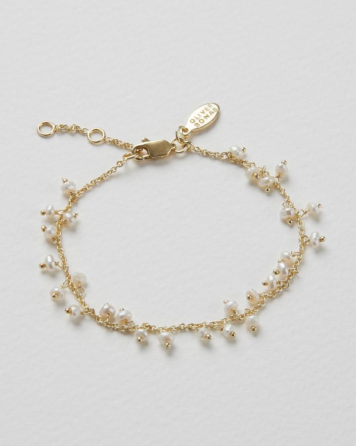 Meryta Pearl Cluster Gold Plated Chain Bracelet