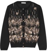 Oscar de la Renta Embellished Wool Cardigan - Black