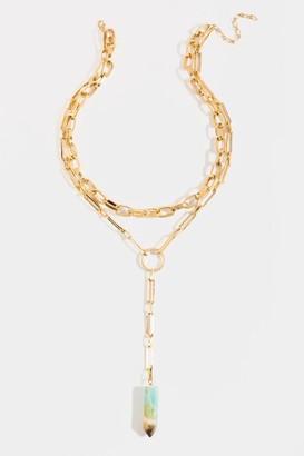 francesca's Lia Lariat Layered Necklace - Mint