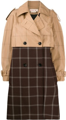 Marni Two-Tone Checkered Trench Coat