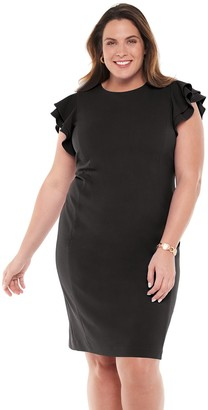 Chaps Plus Size Flutter Sleeve Sheath Dress