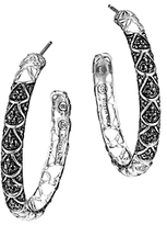 John Hardy Naga Sterling Silver Lava Hoop Earrings with Black Sapphire