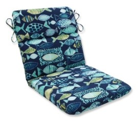 Pillow Perfect Hooked Lagoon Rounded Corners Chair Cushion