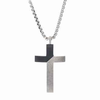 "Steve Madden Men's Two-Tone Diagonal Design Cross Necklace on 26"" Box Chain Stainless Steel"