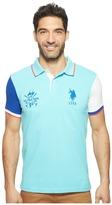 U.S. Polo Assn. Short Sleeve Color Blocked Slim Fit Pique Polo Shirt