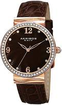 Akribos XXIV Women's AK829RGBR Quartz Movement Watch with Dark Brown Dial and Brown Leather Strap