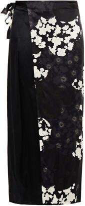 McQ Print-paneled Silk-satin Midi Wrap Skirt