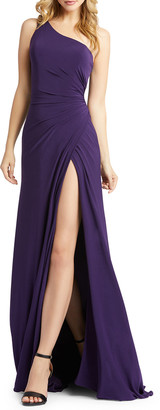Mac Duggal One-Shoulder Jersey Wrap Gown