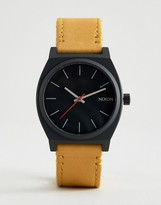 Nixon Time Teller Leather Watch In Tan