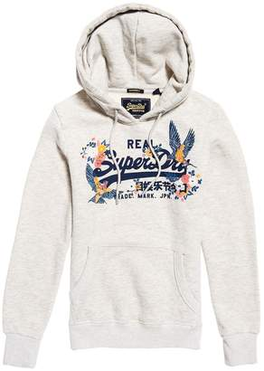 Superdry Vintage Cotton Mix Slip-On Hoodie with Logo Print and Pocket